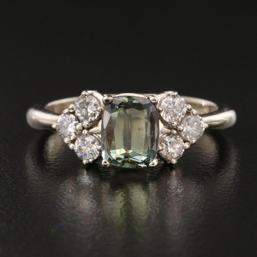 14K 0.99 CT Alexandrite and Diamond Ring