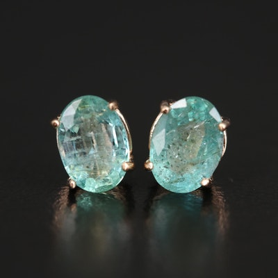 14K Rose Gold Emerald Stud Earrings