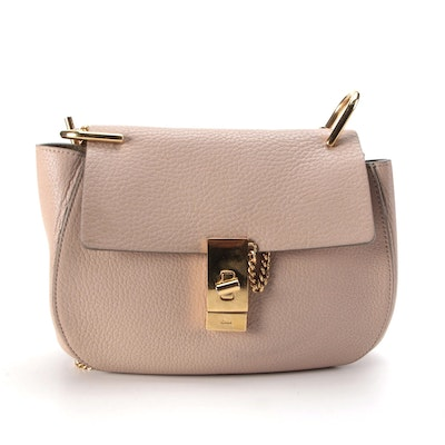 Chloé Drew Blush Grained Leather Front Flap Bag with Chain Strap
