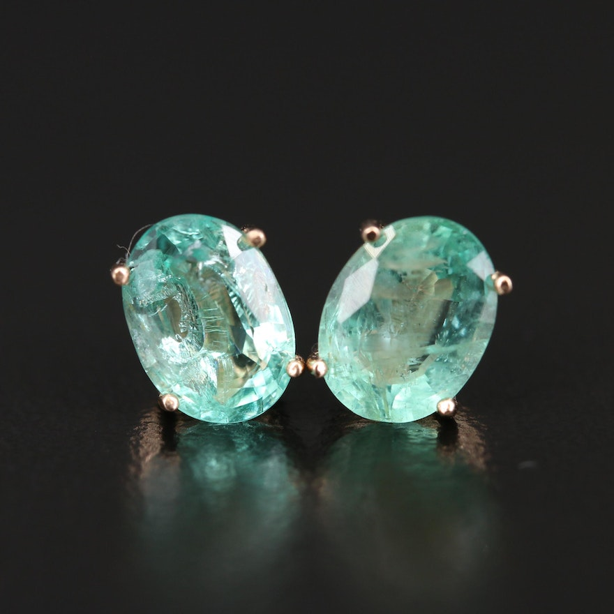 14K Rose Gold Oval Faceted Emerald Stud Earrings