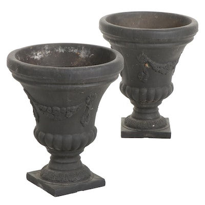 Pair of Charcoal Finish Corinthian Urn Planters