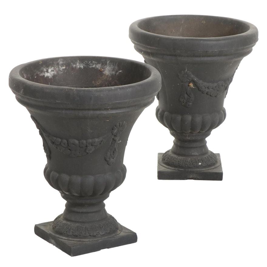 Pair of Charcoal Finish Corinthian Urn Planters
