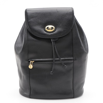 Burberrys of London Drawstring Backpack in Black Grained Leather
