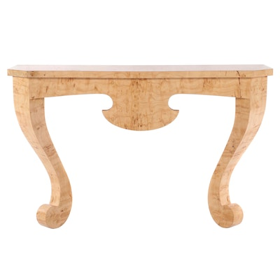 Contemporary Burl Wood Wall Mount Hall Table