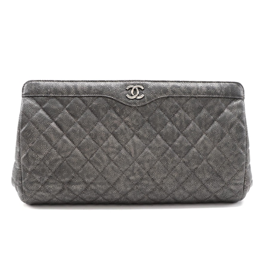 Chanel CC Clutch in Metallic Caviar Calfskin Leather