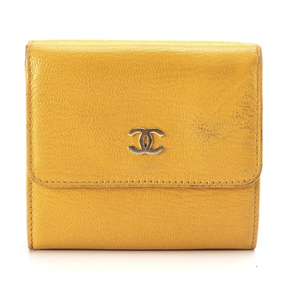 Chanel CC Yellow Leather Wallet