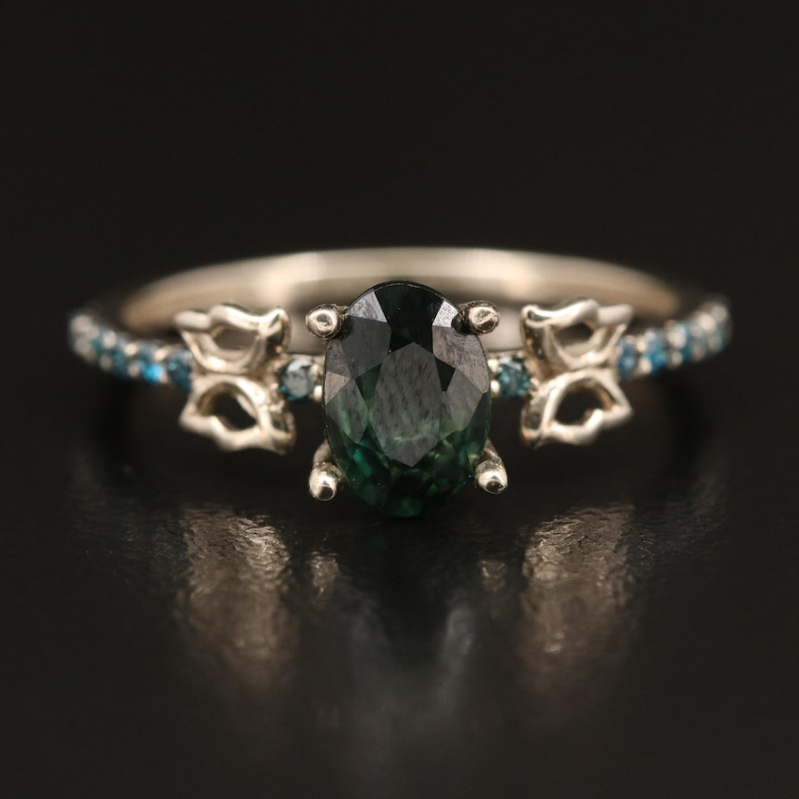 14K Sapphire and Diamond Ring with Butterfly Detail