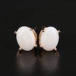 14K Opal Oval Stud Earrings