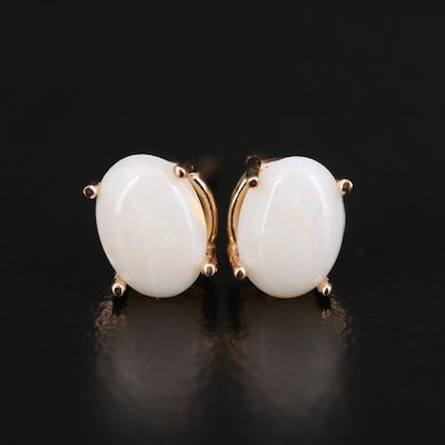 14K Opal Oval Stud Earrings