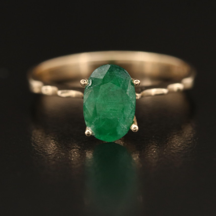 14K 1.07 CT Emerald Solitaire Ring