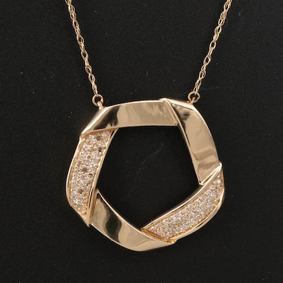 14K Folded Circle Necklace with Pavé Diamond Accents