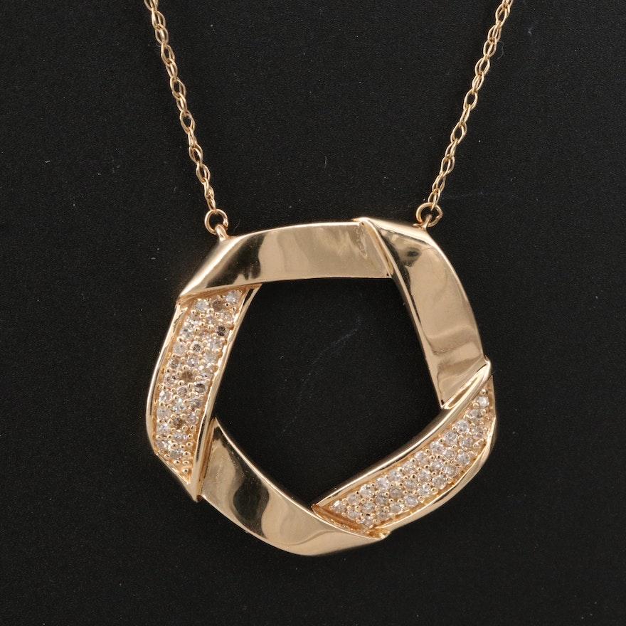 14K Folded Circle Necklace with Pavé Diamond Accents