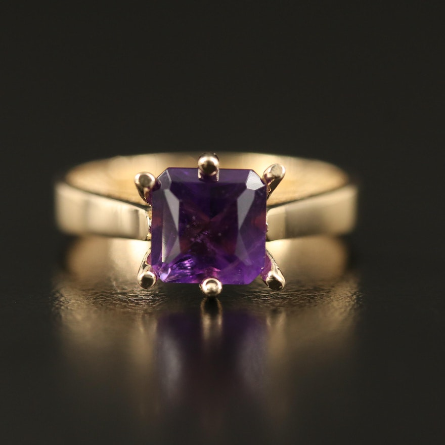 14K Amethyst Cathedral Ring