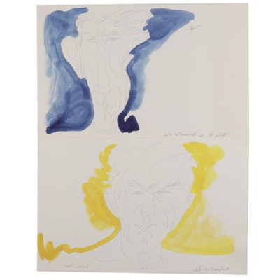 Philip the Transplant Self-Portrait Watercolor Paintings, 2015