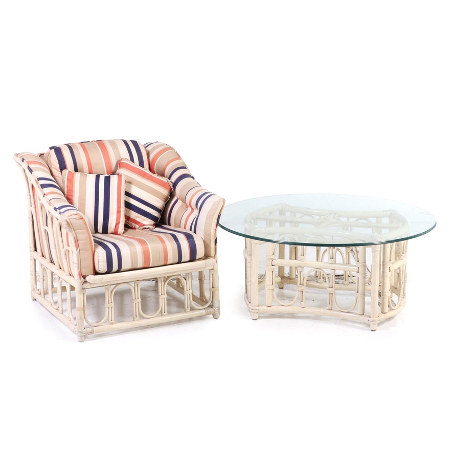 Ficks Reed Rattan Painted Faux Bamboo Patio Armchair and Side Table