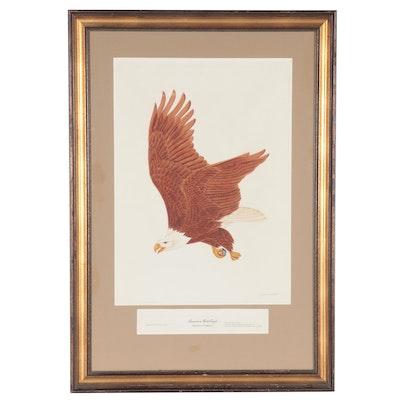 "John A. Ruthven Hand-Colored Engraving ""American Bald Eagle,"" 1976"