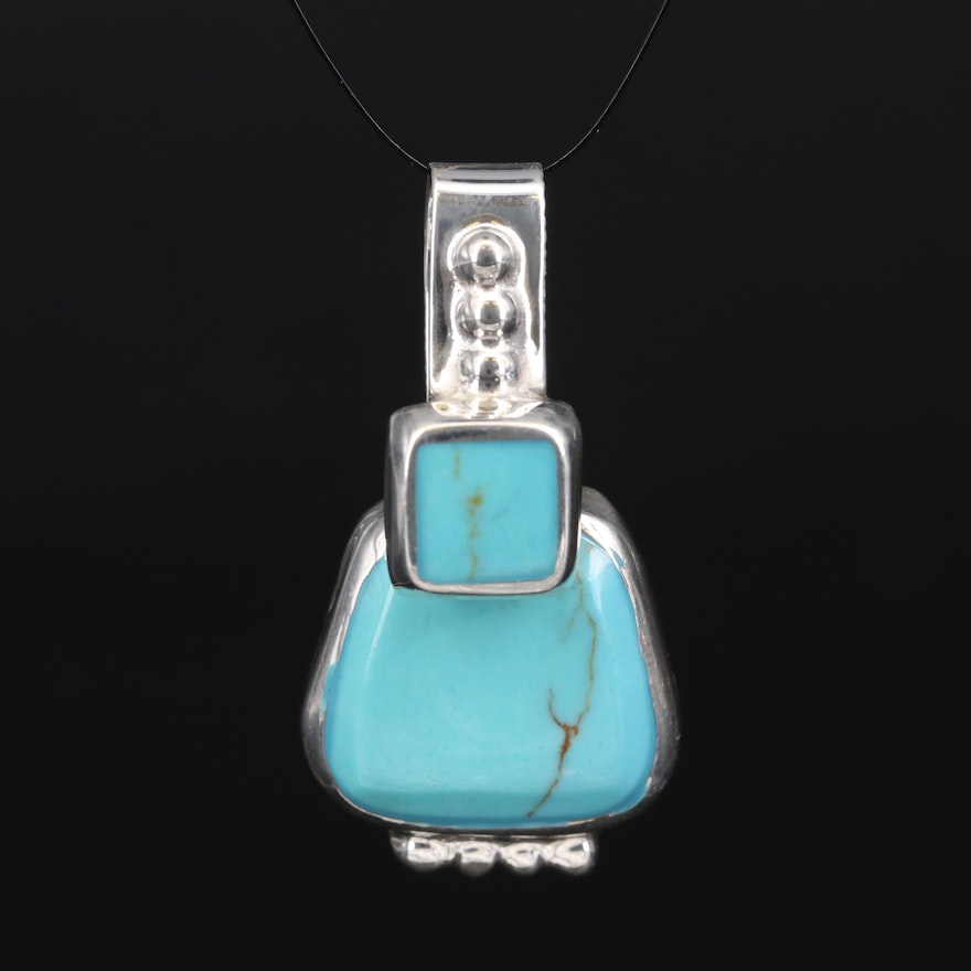 Mexican Sterling Faux Turquoise Slide Pendant
