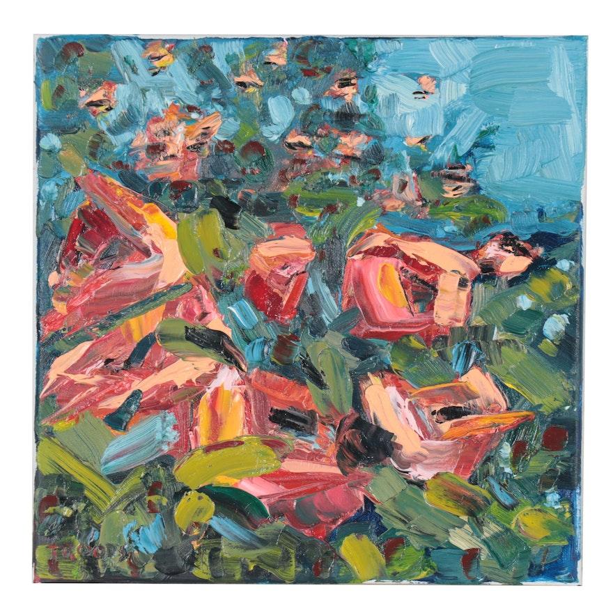 "Patricia Nolan-Brown Oil Painting ""Rosebush in Bloom,"" 2021"