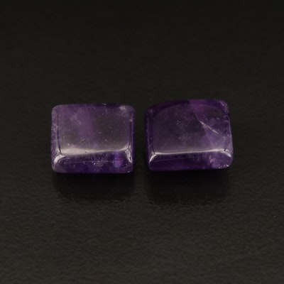 Matched Pair Loose 9.95 CTW Rectangular Amethyst Cabochons