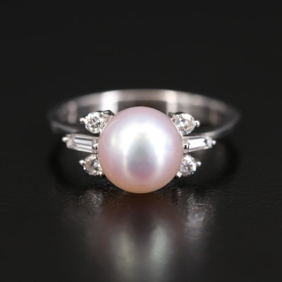 18K Pearl and Diamond Ring