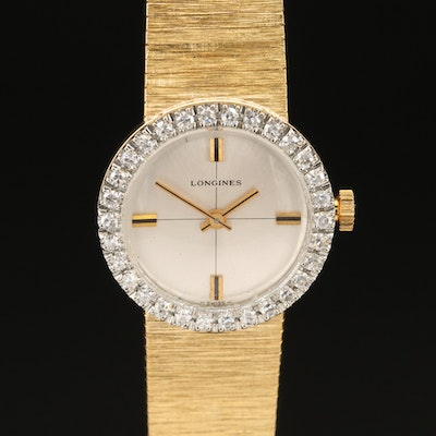Longines 18K Yellow Gold Diamond Wristwatch