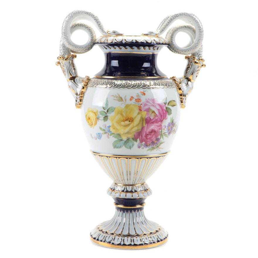 Meissen Porcelain Snake Handled Vase, Late 19th to Early 20th Century