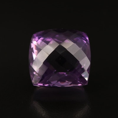 Loose 30.57 CT Square Faceted Amethyst