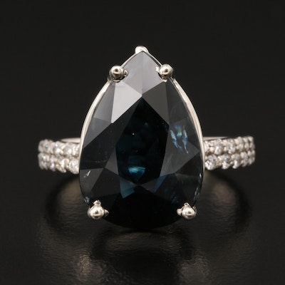 14K 10.34 CT Sapphire and Diamond Ring