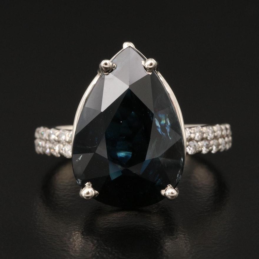 14K 10.34 CT Sapphire and Diamond Ring