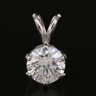 Platinum Cubic Zirconia Pendant with 14K Bail