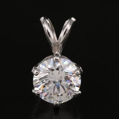 Platinum Cubic Zirconia Pendant with 14K Bail