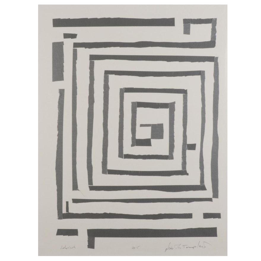 "Philip the Transplant Mixed Media ""Labyrinth,"" 2015"