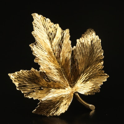 Vintage Tiffany & Co. 18K Leaf Brooch