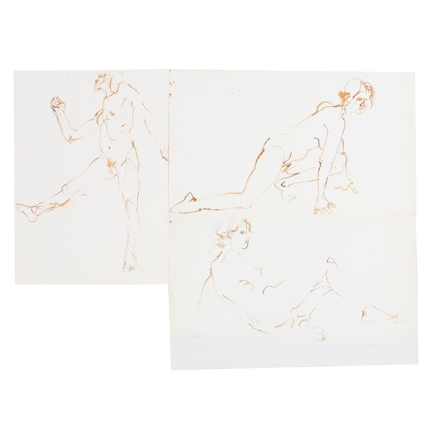 John Tuska Figural Nude Ink Drawings, Mid-Late 20th Century