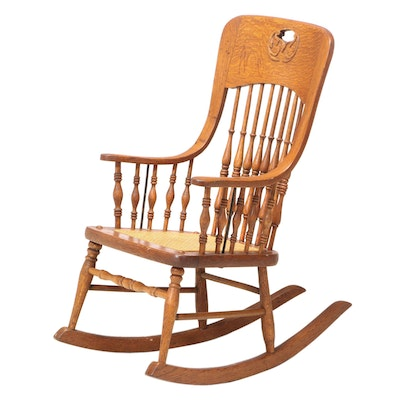 Late Victorian Oak Spindle-Back Child's Rocker, Late 19th/Early 20th Century