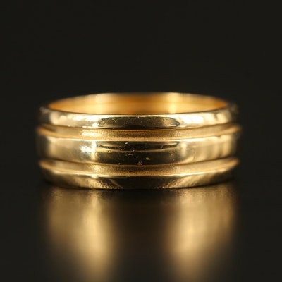 1995 Tiffany & Co. 18K Wide Band with Double Groove