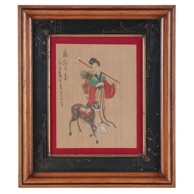 East Asian Gouache Painting of Woman with Deer