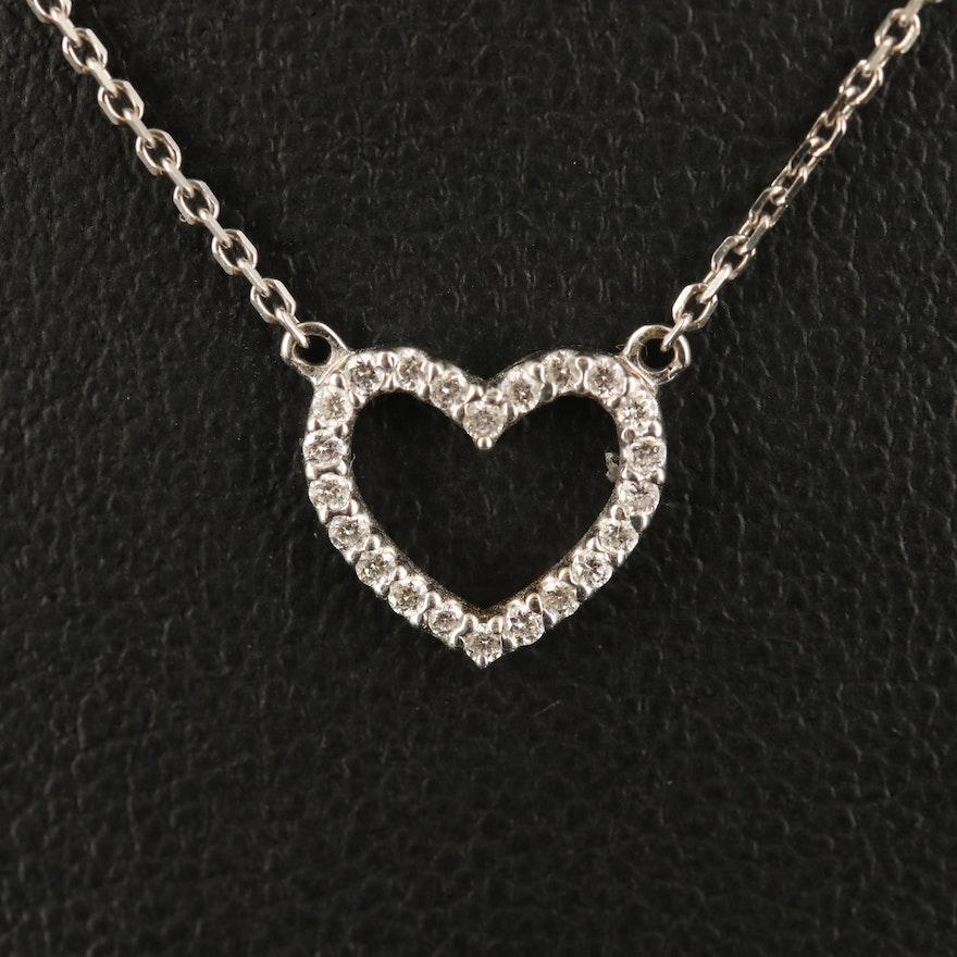 14K Diamond Stationary Heart Necklace