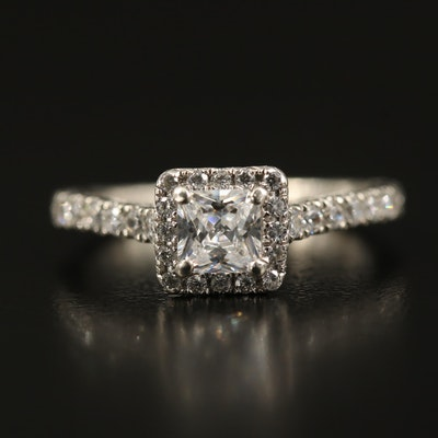 Sterling Cubic Zirconia Square Halo Ring