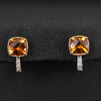 14K Citrine and Diamond J Hoop Earrings