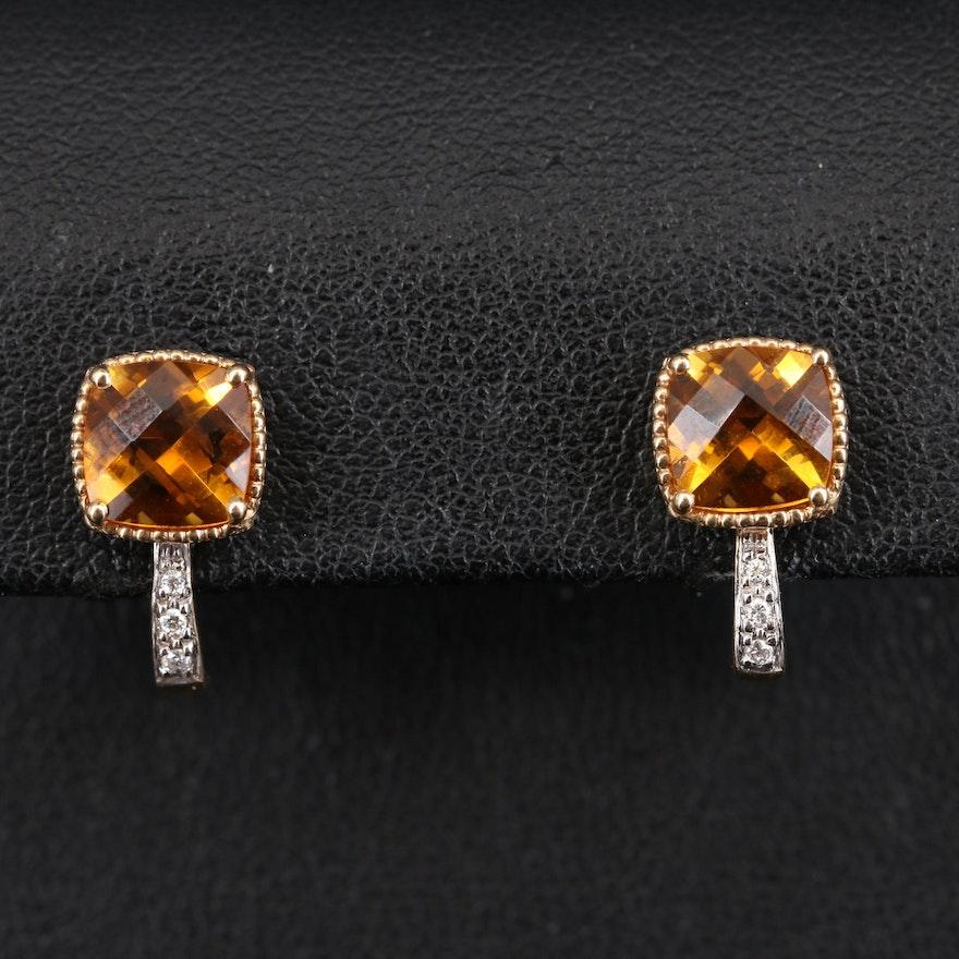 14K Citrine and Diamond J Hoop Earrings