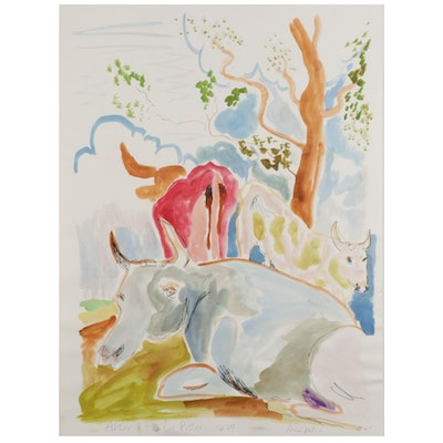 """Philip the Transplant Watercolor Painting """"After Paulus Potter 1649,"""" 2014"""