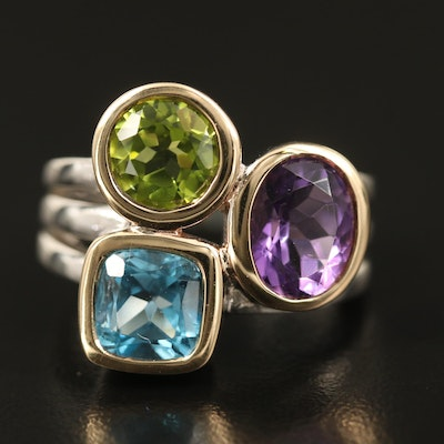 Sterling Topaz, Amethyst and Peridot Ring with 14K Accents
