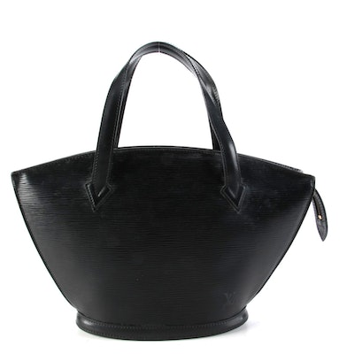 Louis Vuitton Saint Jacques PM Bag in Black Epi and Smooth Leather
