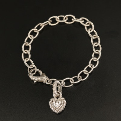 Judith Ripka Sterling Link Bracelet with Cubic Zirconia Heart Charm