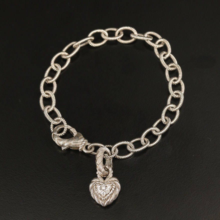 Judith Ripka Sterling Link Bracelet with Cubic Zirconia Heart Charm