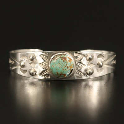 Southwestern Style Turquoise and Stampwork Cuff