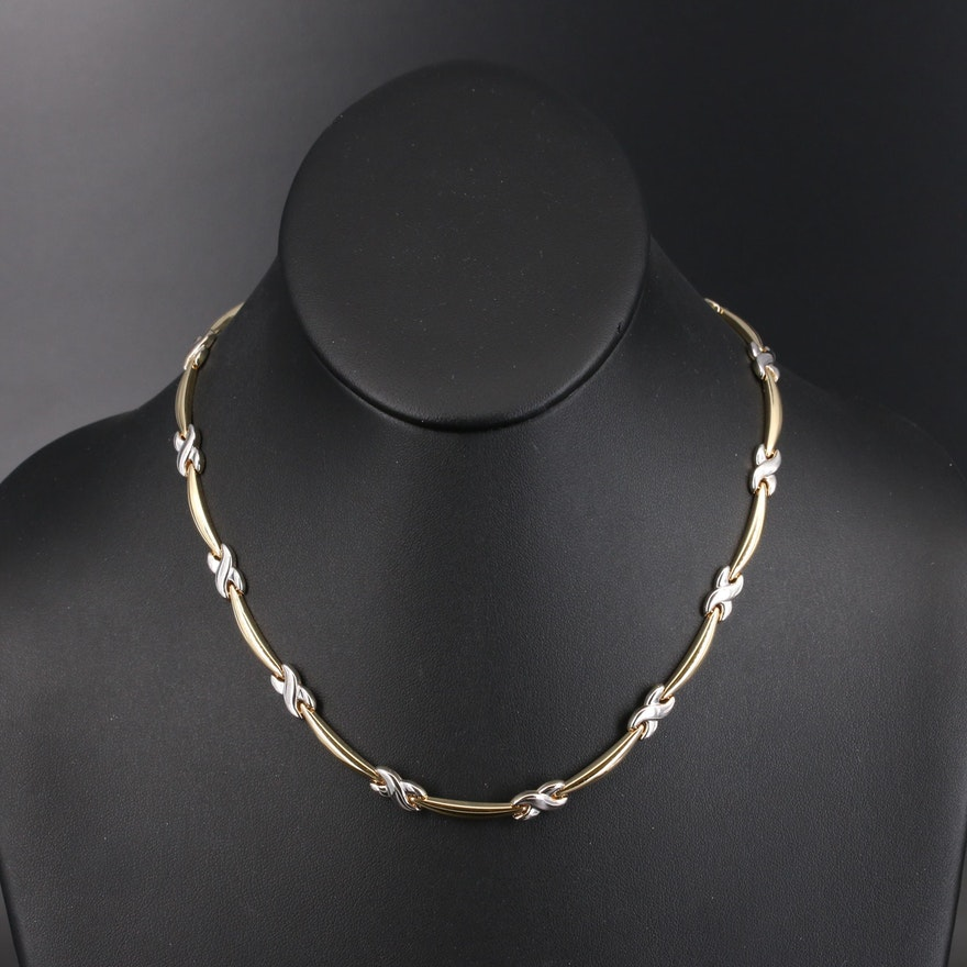 14K Two-Tone Infinity Link Necklace