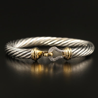 David Yurman Sterling Diamond Cable Bracelet with 18K Accents