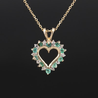 10K Emerald and Diamond Heart Pendant on 14K Chain